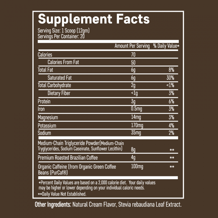 keto coffee supplement facts