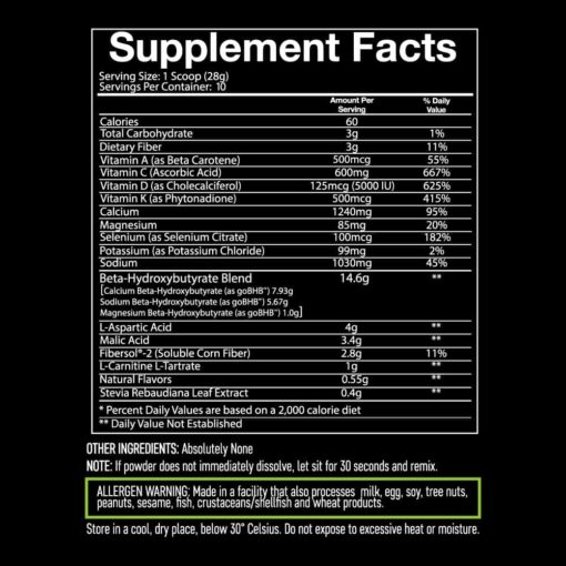 Giant Keto 10 serving supplement facts