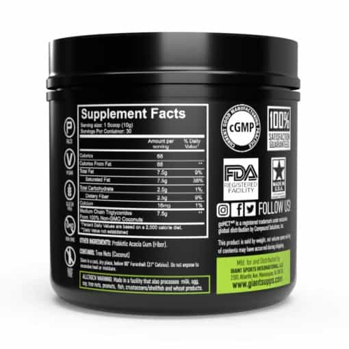 mct oil supplement facts on bottle