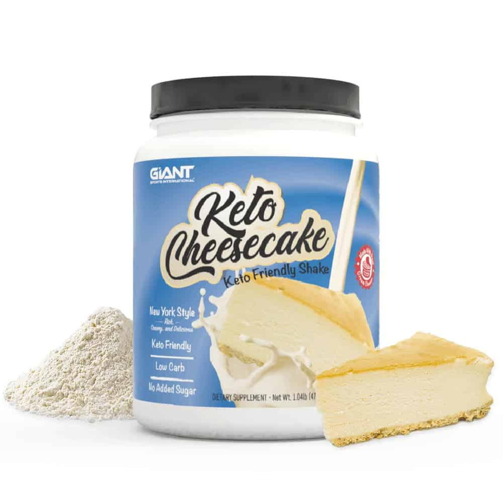 Keto cheesecake with added elements of cheesecake and powder shake mix