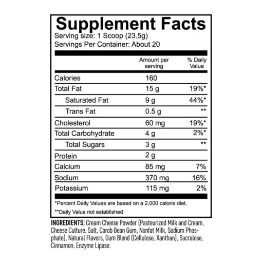 keto cheesecake pumpkin spice supplement facts panel