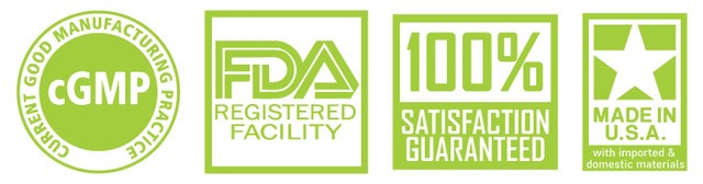 cgmp compliant fda registered facility satisfaction guaranteed made is usa