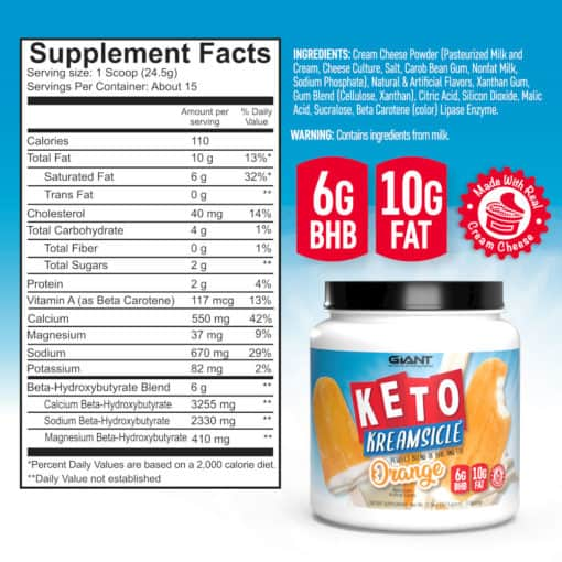keto kreamsicle supplement facts