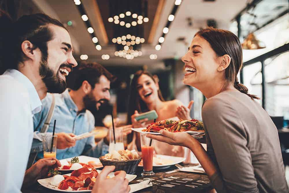 People eating at keto friendly at restaurant